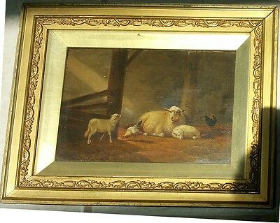 Jacob Van Dieghem - Gorgeous Painting Sheep, Lambs and Chickens oil Signed 1874