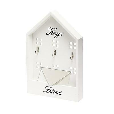 White House Shape 3 Key Hooks & Letter Holder Rack Wall Mounted Storage Stand