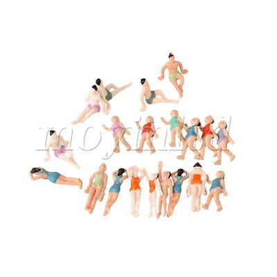 20pcs ABS Painted 1:75 Scale Miniature Beach People Figures Little People