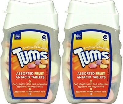 Tums Assorted Fruit Antacid Tablets 75's-Two Packs