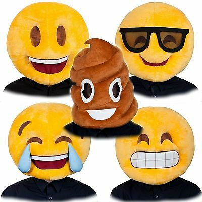 Adult Plush Emoji Face Icons Full Head Mask Fancy Dress Costume Mascot Outfit
