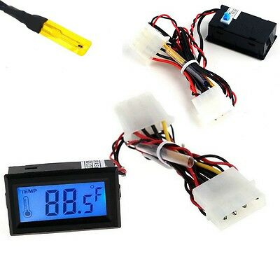 Digital Thermometer LCD Meter Gauge Detector PC Car Mod C/F Molex Panel Mount