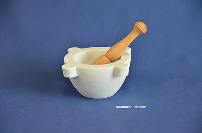 "Mortaio marmo Carrara ""Genovese"" 16 cm pestello olivo.Marble mortar olive pestle"