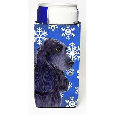 Cocker Spaniel Winter Snowflakes Holiday Michelob Ultra bottle sleeve for Sli...
