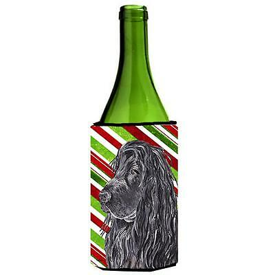 English Cocker Spaniel Candy Cane Christmas Wine bottle sleeve Hugger 24 oz.