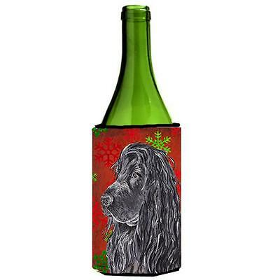 English Cocker Spaniel Red Snowflake Christmas Wine bottle sleeve Hugger 24 oz.