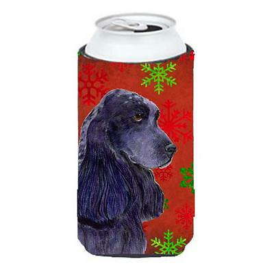 Cocker Spaniel Red Green Snowflakes Christmas Tall Boy bottle sleeve Hugger 2...