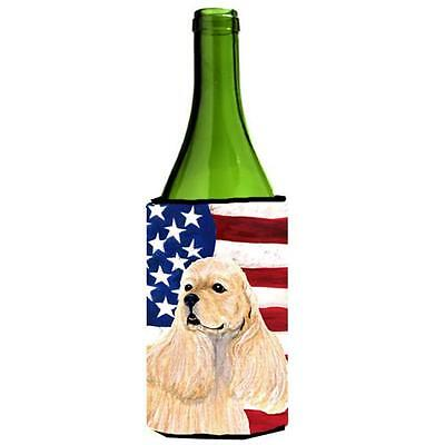 Usa American Flag With Cocker Spaniel Wine Bottle Hugger 24 oz.