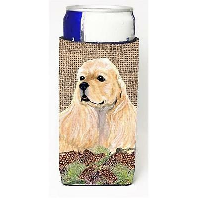 Cocker Spaniel On Faux Burlap With Pine Cones Michelob Ultra bottle sleeve fo...
