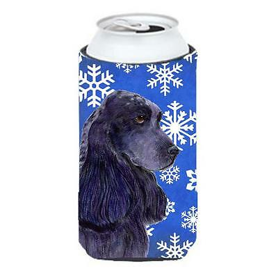 Cocker Spaniel Winter Snowflakes Holiday Tall Boy bottle sleeve Hugger
