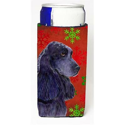 Cocker Spaniel Red Green Snowflakes Christmas Michelob Ultra bottle sleeves F...