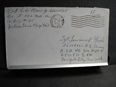 APO 95 INDIANTOWN GAP MILITARY Reservation, PA WWII Army Cover 1944 320th MED Bn