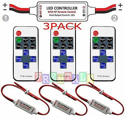 3X 12V Wire RF Wireless Remote Switch Controller Dimmer for Mini LED Strip Light