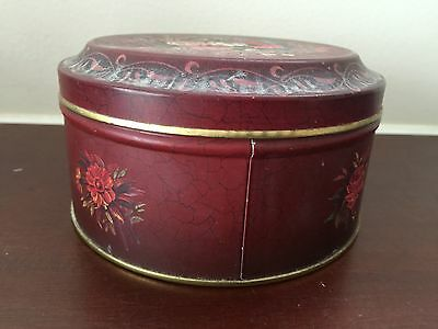 Vintage Barringer Wallis and Manners Mansfield Red Round Floral Tin Can w/ Lid