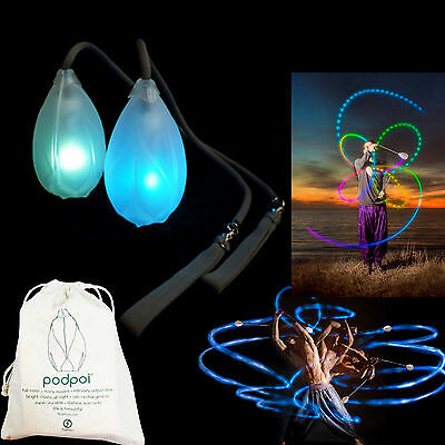 Flowtoys LED Pod Poi Glow Podpoi -Shipped from the UK-Includes Lifetime Warrenty
