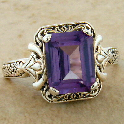 Color Changing Lab Alexandrite Antique Design .925 Silver Ring Size 6,   #498