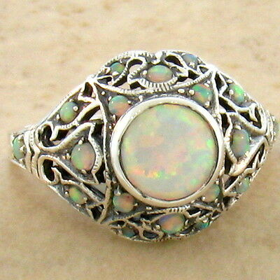 White Lab Opal .925 Sterling Vintage Victorian Design Silver Ring Size 7,   #760