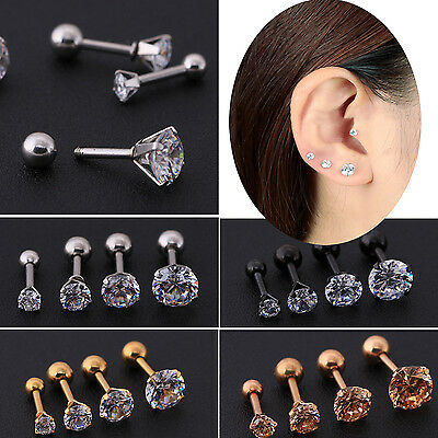 1/2pc CZ Prong Tragus Cartilage Piercing Stud Earring Ear Ring Stainless Steel C