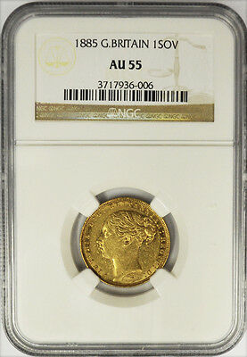 1885 Great Britain Gold Sovereign, Queen Victoria, NGC AU 55. RARE! Low Mintage!