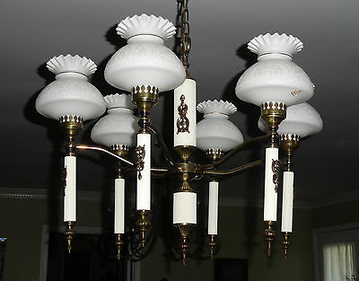 Antique Vv Victorian Art Nouveau 6 Light Brass Chandelier With Milk Glass Shades