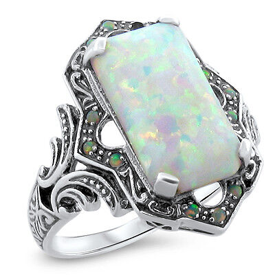 White Lab Opal Antique Victorian Design 925 Sterling Silver Ring Size 9,    #618