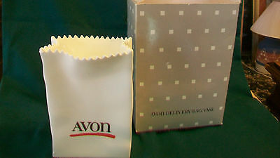 Avon White Ceramic Delivery Bag Vase from 1986