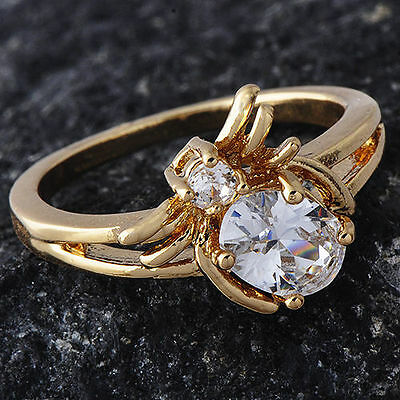 Womens Clear Crystal Spider Ring 14K gold filled Ring size 5 Free Shipping