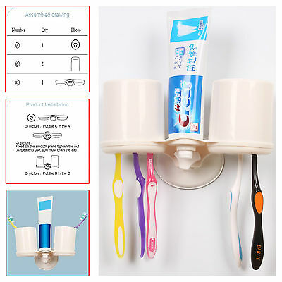 Double Toothbrush Holder Tumbler Wall Mounted Accessory Brush Cup Glass Bathroom