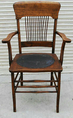Antique Wood Arm Chair With Leather Seat Base