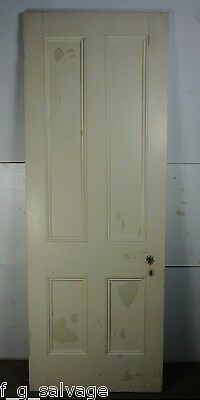 "Antique Vintage 4 Panel Interior Door 81"" X 29-3/4"" (G4) 1800's Local Pickup"