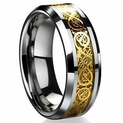 Men's Silver Plated Dragon Titanium Stainless Steel Wedding Band Rings Gift
