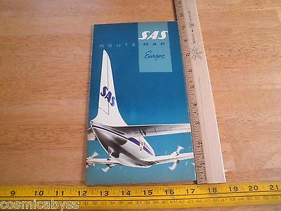 SAS 1957 Scandinavian Airlines Route Map foldout Europe NICE!