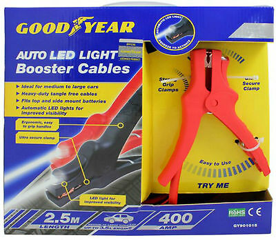 Goodyear 400Amp Booster Cables 2.5M Heavy Duty Led  Battery Jump Leads Freepost!