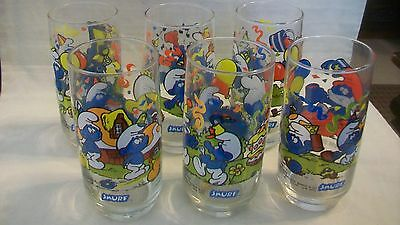 Set Of 6 Smurf Drinking Glasses From Peyo, 1983 Wallace Berrie