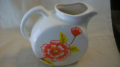 Vintage Hand Made Pottery Ceramic Pitcher, White With Red Flowers, Yellow Leaves