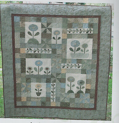 Winter Blooms - pretty pieced and applique quilt PATTERN - Gail Pan Designs