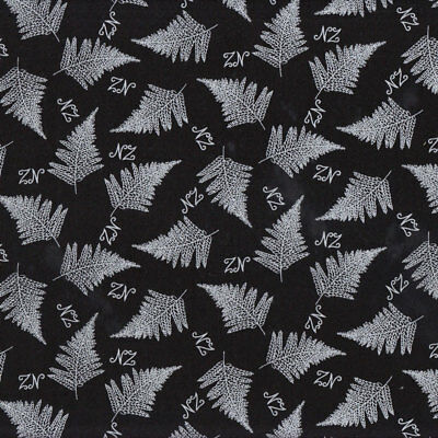 New Zealand Stipple Ferns on Black Quilt Fabric FQ or Metre *New*