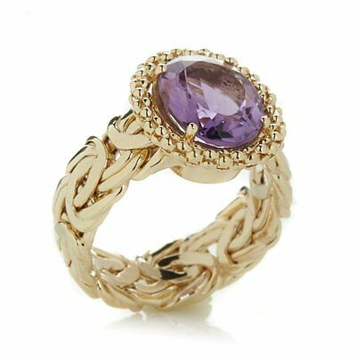 Technibond Gemstone Byzantine Band Ring 14K Yellow Gold Clad Silver 925