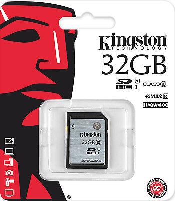 Genuine Kingston 32GB SD SDHC Memory Card Class 10 - Digital Camera & Camcorder