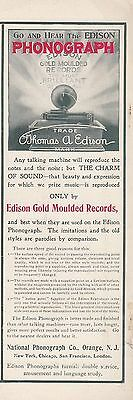 1904 National Phonograph Co Orange NJ Ad: Edison Gold Moulded Records & Phonogra