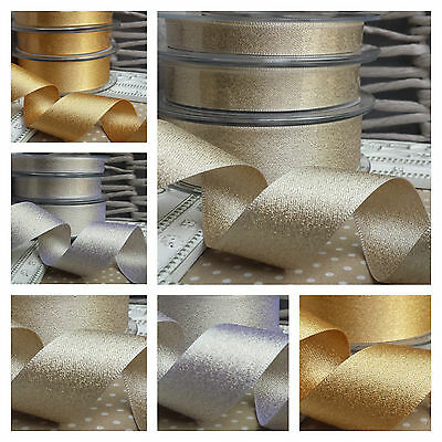 10, 15 or 25mm Berisfords Sparkly Glitter Satin Ribbon. Silver Gold Wedding Card