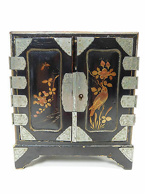 Kodansu Japanese Antique Box China Jewelry Vintage Painted Wooden Cabinet 9180