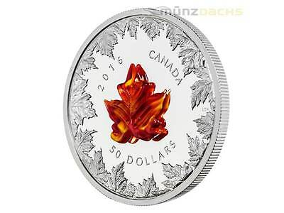 50 $ Dollar Autumn Radiance Maple Leaf Murano Glas Kanada 2016 PP 5 oz Silber