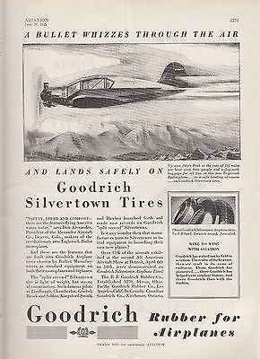 1929 B F Goodrich Rubber Co Ad: Eaglerock Bullet Airplane Over Pikes Peak Co