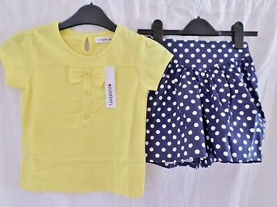 Ladybird Two Part Navy Blue Culottes & Yellow T Shirt Top Set Age 2 - 6 Years