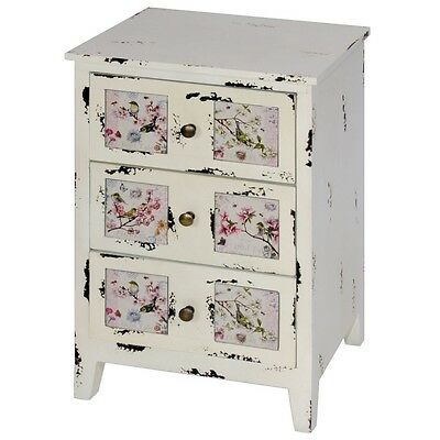 Shabby Chic Vintage Distressed Cream Floral Birds 3 Drawer Chest NEW Girls Room