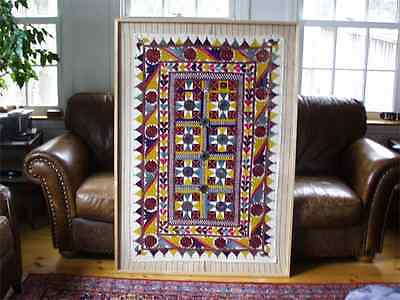 Vintage unframed India Kutch Ethnic Tapestry Embroidered textile with 64 mirrors