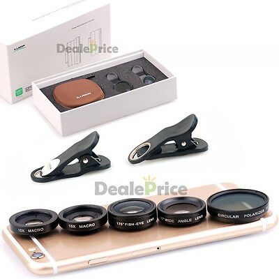 5 in1 Clip On Camera Lens Kit Fisheye +Wide Angle +Macro +CPL for iPhone 6S Plus