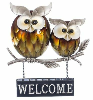 Owl Metal Wall Art Welcome Sign Pair on Branch Hanging Garden Ornament 3213
