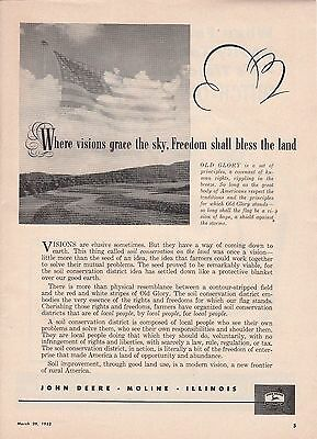 1952 John Deere Moline IL Ad: Visions Grace the Sky Freedom Shall Bless the Land